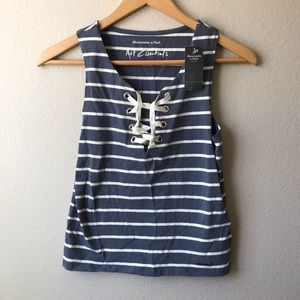 Abercrombie Fitch Striped Crop Top Lace Up